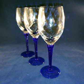 Optic Swirl Wine Glasses With Cobalt Blue Twisted Stems