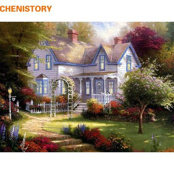 CHENISTORY The Forest House DIY Painting By Numbers HandPainted Oil Paint On Canvas Unique Gift For Home Wall Decoration Artwork