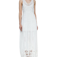 Sleeveless Eyelet & Lace Maxi Dress