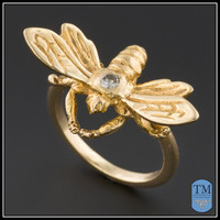 Vintage 14k Gold & Diamond Bee Ring - Size 3