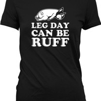 Funny Workout Shirt Leg Day Can Be Ruff Leg Day Gym Shirt Dog Lover Gift Lifting Clothes Fitness Shirt Training Gifts Mens Ladies Tee WT-204