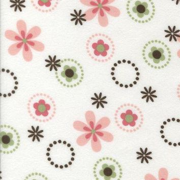 Pink Bouquet Flannel Fabric by the Yard | 100% Cotton