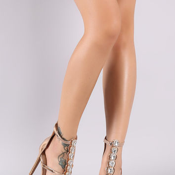 Rhinestone Metallic Triple Strap Open Toe Stiletto Heel | UrbanOG