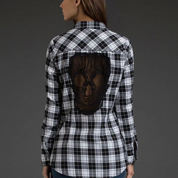 Lace Skull Back Plaid Flannel Shirt