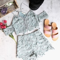 wanderlust floral lace off-the-shoulder two piece set - slate blue