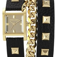 Vince Camuto Double Wrap Chain & Leather Strap Watch, 21mm
