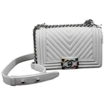 Chanel Spring 2017 Mini Boy Bag in White Leather Rainbow Clasp