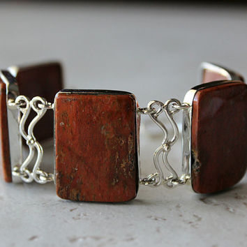 Petrified Wood Silver Bracelet, 925 Sterling Silver Bracelet, Fossil Wood, Brown Rectangle Stone