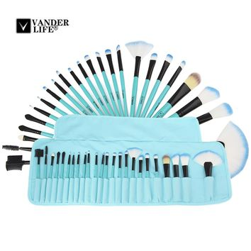 High Quality Professional Powder Foundation Brush 24pcs Makeup Brushes Set Cosmetic Real Make Up Tools Blush With Bag