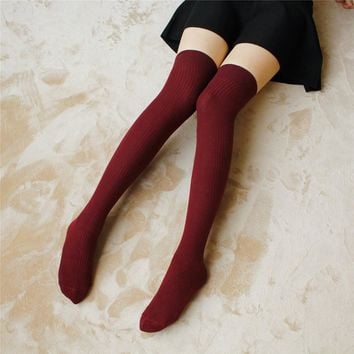 1 Pair Cute Ladies Girls Sweet College Style Stocks Thigh High Socks Over Knee Stripe Girls Cotton Casual Socks Black White