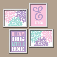 Pink Purple Wall Art Canvas Girl Nursery Artwork Child Flower Custom Monogram Name Dream Big Monogram Set of 4 Prints  Baby Decor  Crib