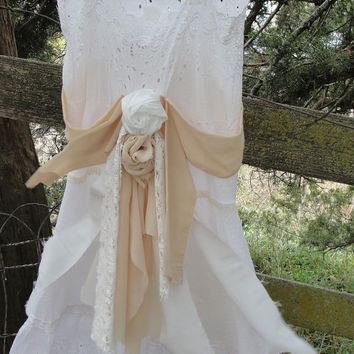 Gypsy boho hippie wedding dress vintage shabby chic beach chic