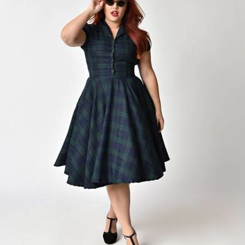 Plus Size 1950s Style Navy & Emerald Tartan Short Sleeve Mona Swing Dress
