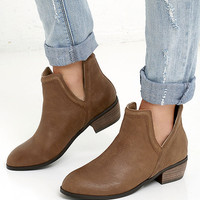 Sbicca Silvercity Tan Leather Ankle Boots