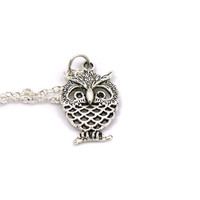 Owl Charm Necklace, Owl Jewelry, Owl Necklace, Antique Silver Owl Charm, Tiny Silver Owl, Silver Owl Necklace, Silver Owl Jewelry, Owl Charm