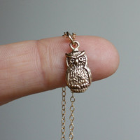 Tiny Owl Necklace - Solid Bronze Owl Charm . 14K Gold Filled Chain . Dainty and Lightweight . Hand-Stamped Gift Box