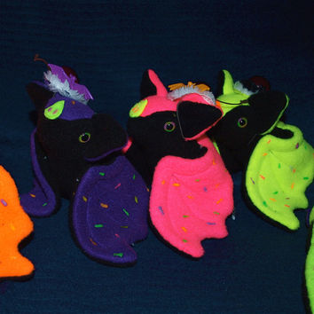 Halloween Cup Cake Bat with Cherry Hat - Kawaii plush plushie glow-in-the-dark eyes and sprinkles black light icing