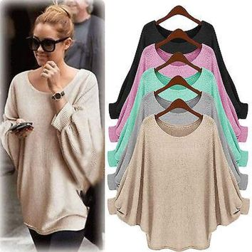 Women Long Sleeve Knitted Loose Blouse Sweater Top