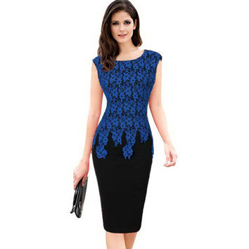 Vestidos Womens Elegant Vintage Floral Crochet Charming Pinup Casual Work Office Party Evening Sheath Bodycon Pencil Dress 139