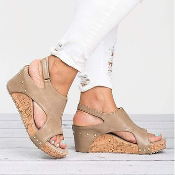 Womens Vegan Leather Cork Wedge Sandals