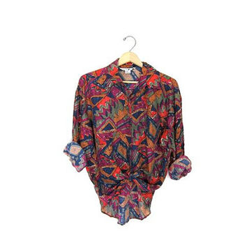 20% OFF SALE vintage silk shirt. tribal print slouchy silk blouse. southwestern. long sleeve silk top. colorful 90s silk shirt. Small