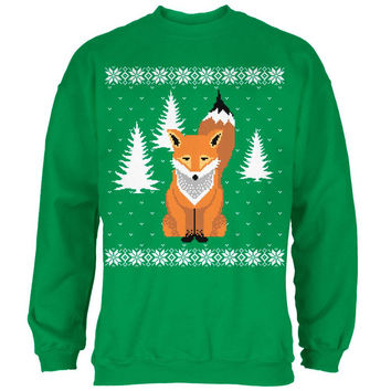 Big Fox Ugly Christmas Sweater Irish Green Adult Sweatshirt
