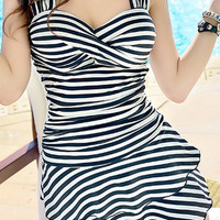 White and Black Striped Sweetheart Neckline One-Piece Swimsuit