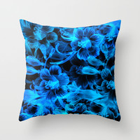 Blue Flowers Throw Pillow by Page394