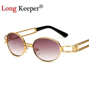 Long Keeper Unisex Hipster Steampunk Goggles Sunglasses Men Vintage Retro Steam Punk Sun Glasses For Women Round Shades oculos