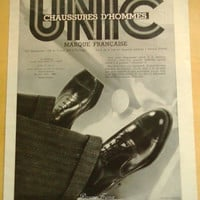 Original Vintage French Ad  Unic Shoes,  Golf Shoes for Men 1932