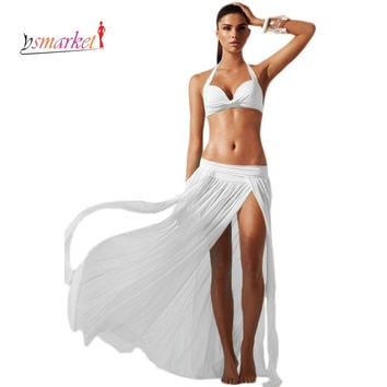 New Elastic Gauze Women Beach Dress 2016 Summer Split Sarong Skirt For Bikini Cover Up Swim Beach Skirt pareos tunic skirt 41168