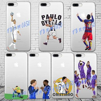 Football Real Madrid Cristiano ronaldo Messi Neymar phone case for iphone 5s 6 6s 6plus 7 7plus XR XS MAX soft silicone cover
