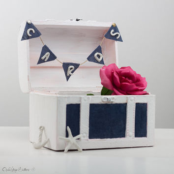 Unique Beach Wedding Chest Gift Card box Holder - Nautical Keepsake box - Navy Blue Baby Shower Home Dorm Decor Trunk - Cards Banner