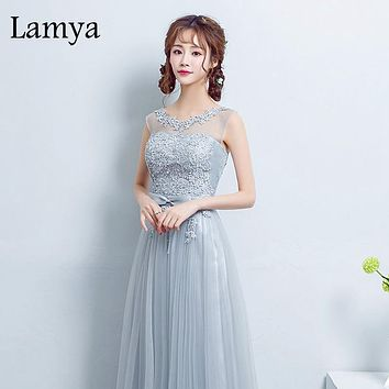 Lamya Sweetheart Bow Knot Sashes Lace Long Prom Dress Pink Chiffon Party Dress High Quality Lace Up Back 2017 Dress
