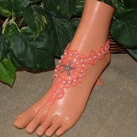 Crochet Coral Starfish Beach Wedding Barefoot Sandals, Wedding Bridal Shoes, Anklet, Foot Jewelry, Footless, Beach Jewelry