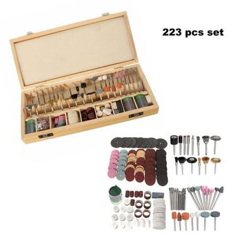 223 Piece Rotary Tool Accessories Kit  Wooden Box, Tool Set Home Improvements, Hobby Craft Supplies