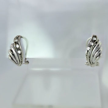 Sterling Silver Pierced Earrings - Silver Shell Earrings with CZ Stones - Sterling and Cubic Zirconia - Openwork Earrings