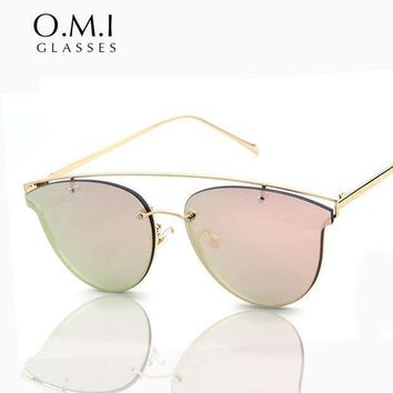 Who Cutie 2017 Cat Eye Aviator Sunglasses Women Retro Vintage Metal Frame Rimless Lens Superstar Private Sun Glasses Brand Om35