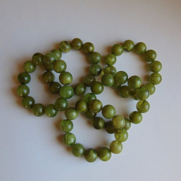 5 Jade Green Beads Stretch Bracelets