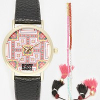 Reclaimed Vintage Folk Tile Print Watch & Friendship Watch