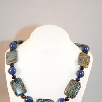 Jasper, Blue Goldstone and Lapis Necklace. Jasper. Necklace. Jewelry. Lapis. Hand Made. Semiprecious Stones. Blue Goldstone. Hemitite