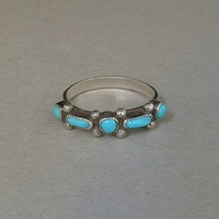 OLD PAWN Vintage Native American Navajo Turquoise RING Band Sterling Silver Size 6.25 c.1940s