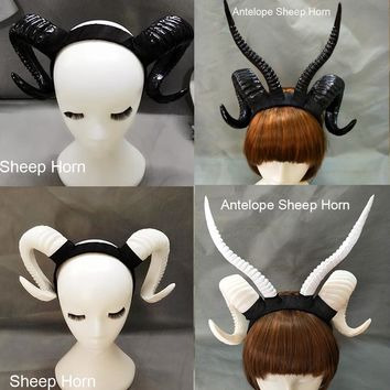Gothic Sheep Horn Punk Headband Forest Animal Photography Cosplay Photo Props Steampunk Hair Accessory