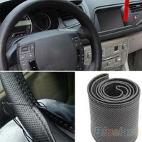 New Leather DIY Car Steering Wheel Cover With Needles and Thread 3 Color Choose = 1645610244