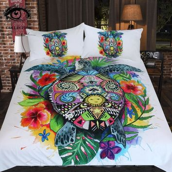 Turtle Life Art Bedding Set Bohemian Duvet Cover Set Floral 3pcs Set