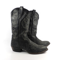Shark Cowboy Boots Vintage 1980s Men's Tony Lama Leather Shaved Boots Men's size 11 1/2 D