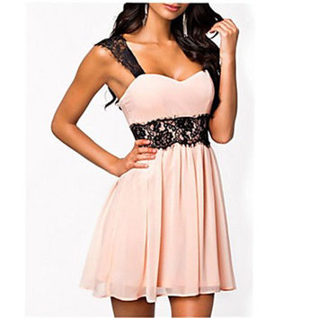 Women's Solid/Lace Pink Dress