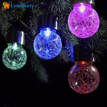 LumiParty Solar Power Glass Globe Solar Lamps With Hanger RGB Led Garden Light Waterproof Solar Nightlights for Outdoor Lighting