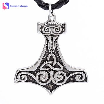 susenstone 2017 Chain Necklace Steel Necklace Men Huge Thor Hammer Mjolnir Viking Amulet Hammer Pendant Necklace Norse Jewelry