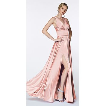 e5bb4014c93 Cinderella Divine 7469 Sexy Long Prom Dress Blush Evening Satin